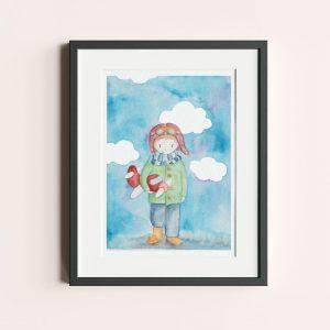 Poster illustratie jongen met vliegtuig